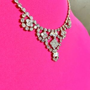 Antique Icy Blue Rhinestone Necklace